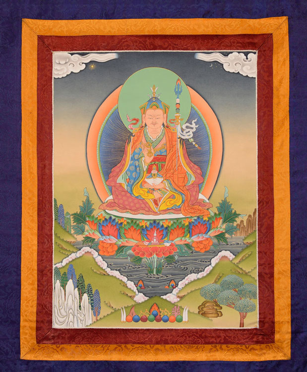 Guru Rinpoche Thangka with Brocade (KSL2512)
