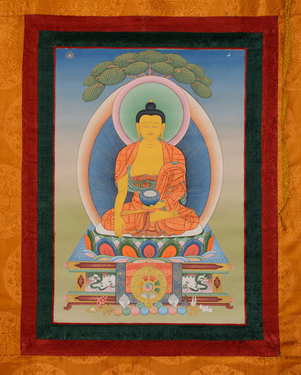 Sakyamuni Buddha Thangka with Brocade (KSL2559)