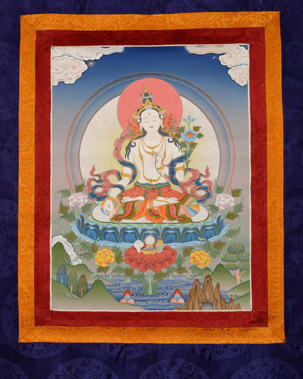 White Tara Thangka with Brocade (KSL2569)