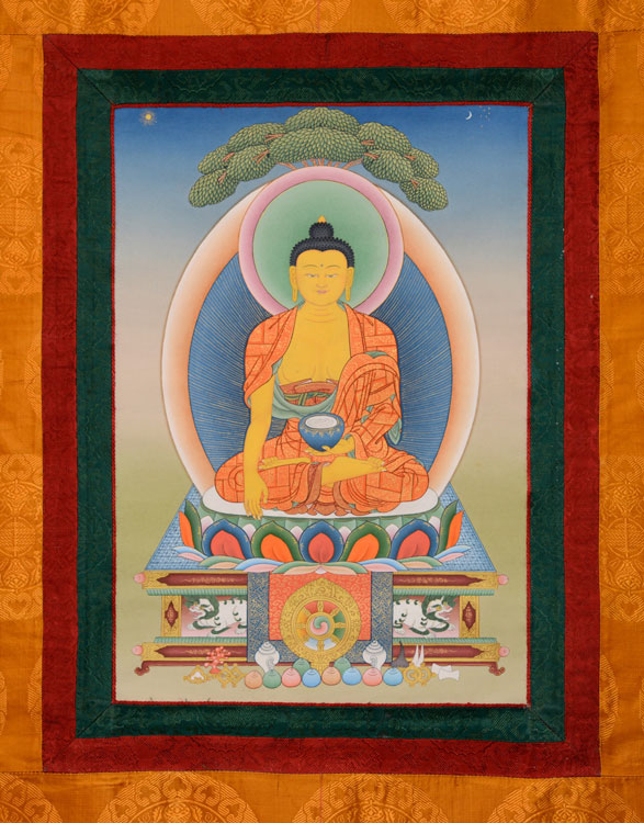 Sakyamuni Buddha Thangka with Brocade (KSL2571)