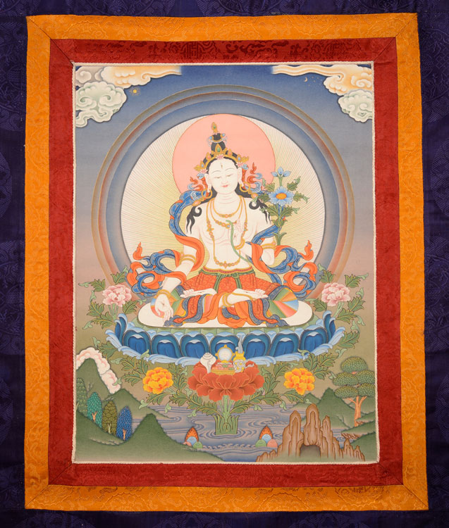 White Tara Thangka with Brocade (KSL2593)