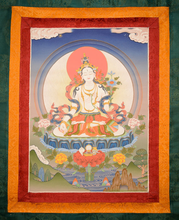 White Tara Thangka with Brocade (KSL2594)