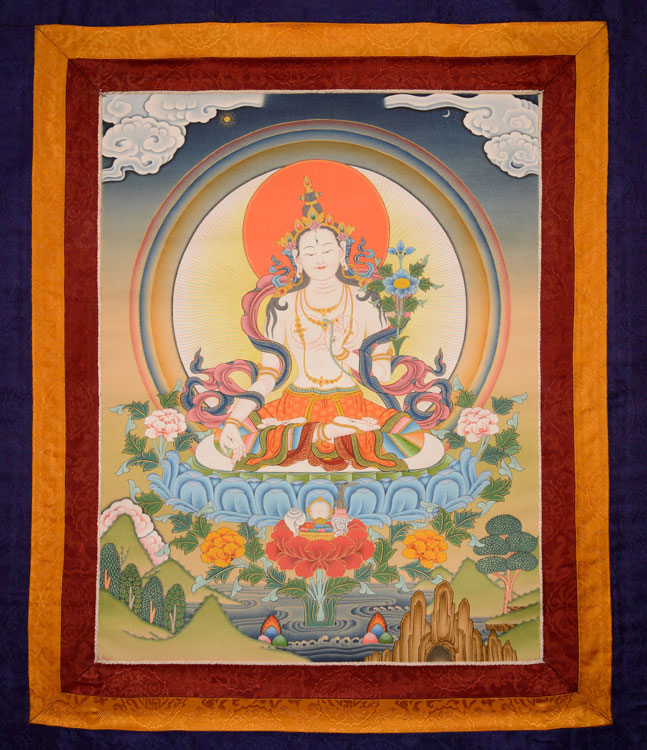 White Tara Thangka with Brocade (KSL2607)