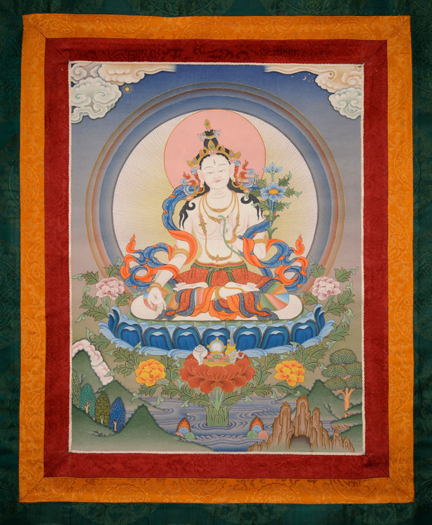 White Tara Thangka with Brocade (KSL2608)