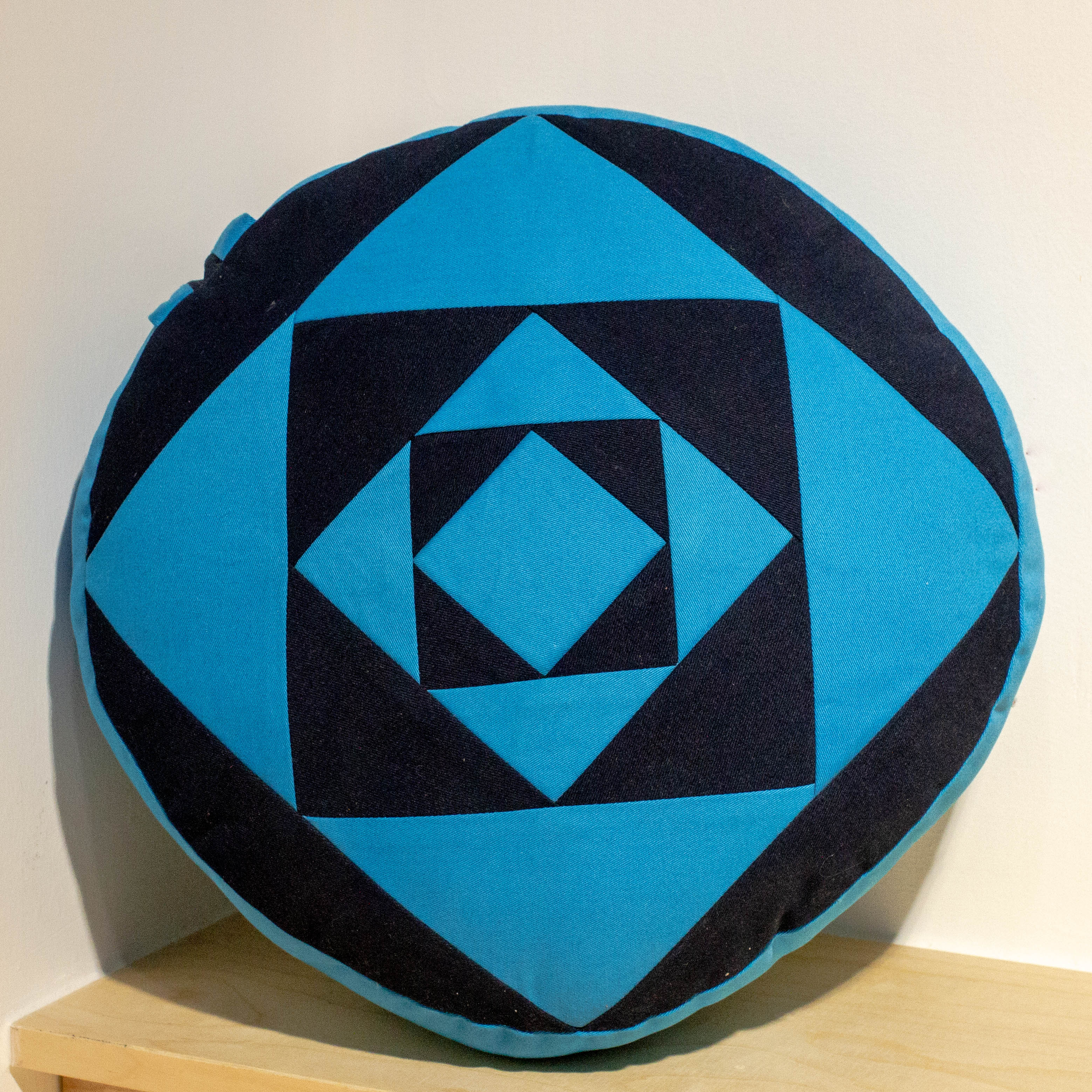 Large Round Meditation Cushion - Blue