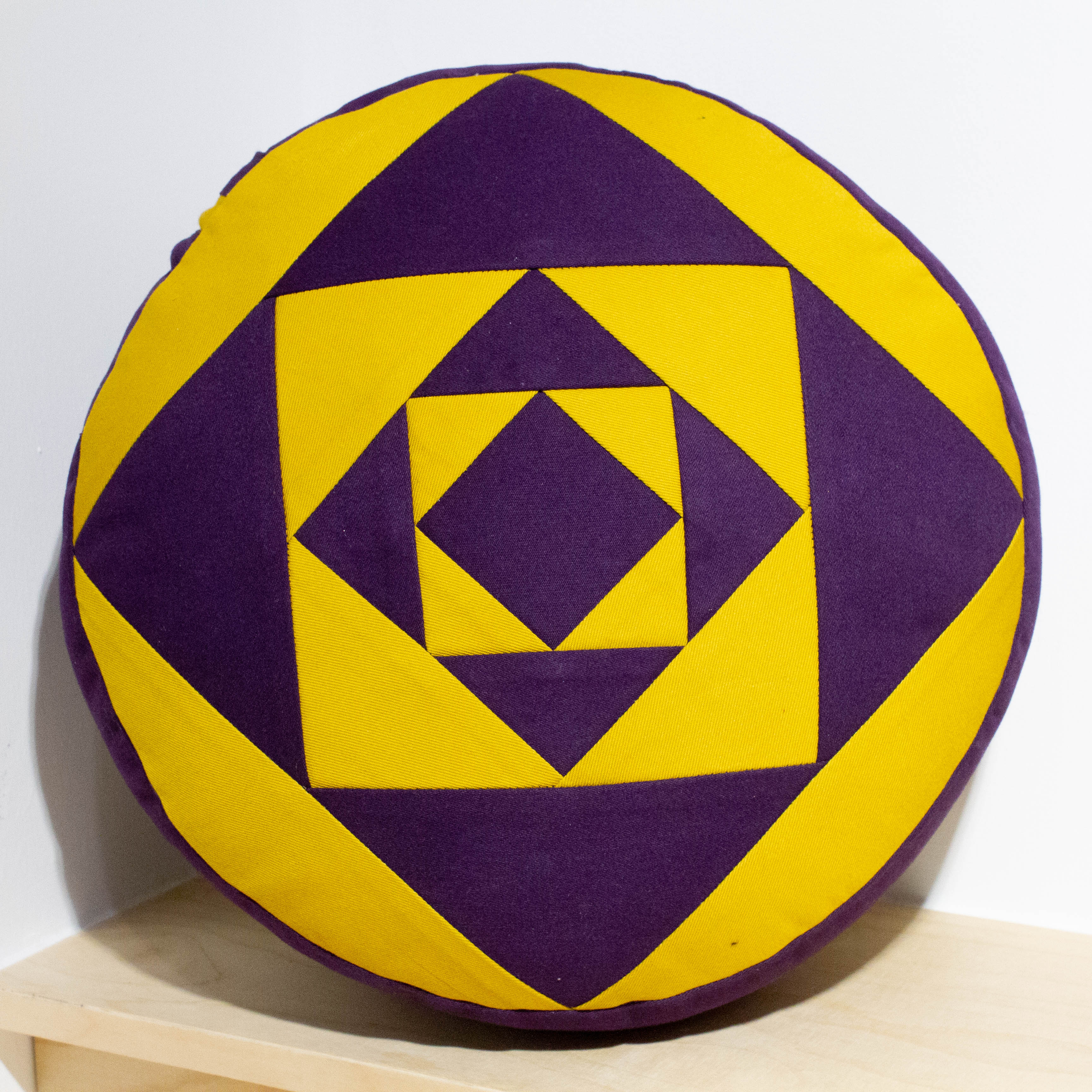 Small Round Meditation Cushion - Purple and Yellow
