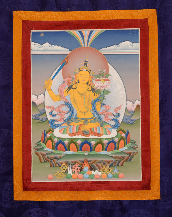 Manjushri Thangka with Brocade (KSL2531)