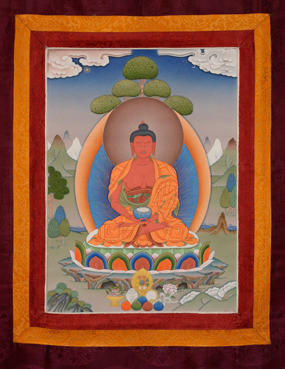 Amitabha Thangka with Brocade (KSL2554)