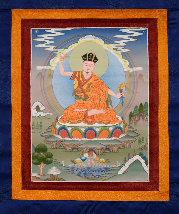 Karma Pakshi Thangka with Brocade (KSL2561)