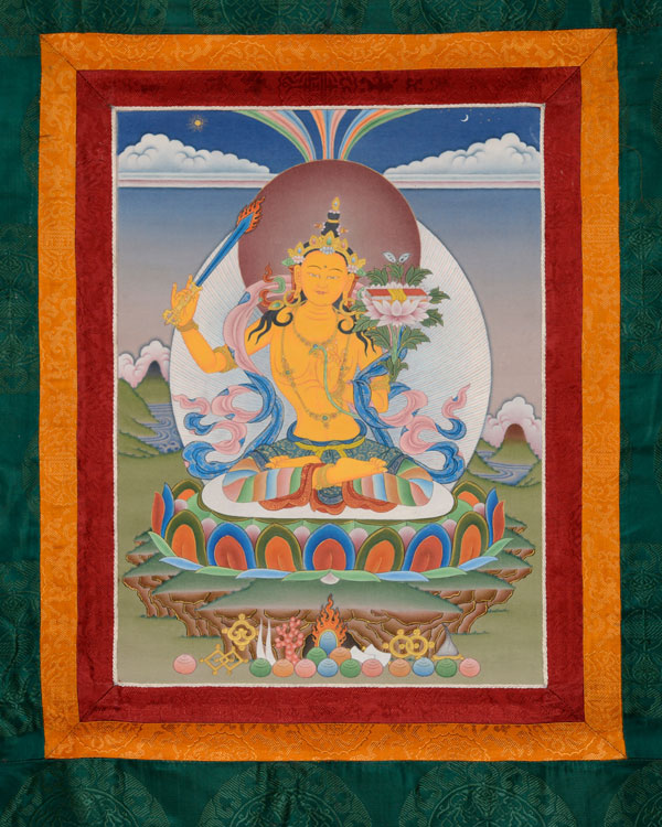 Manjushri Thangka with Brocade (KSL2572)