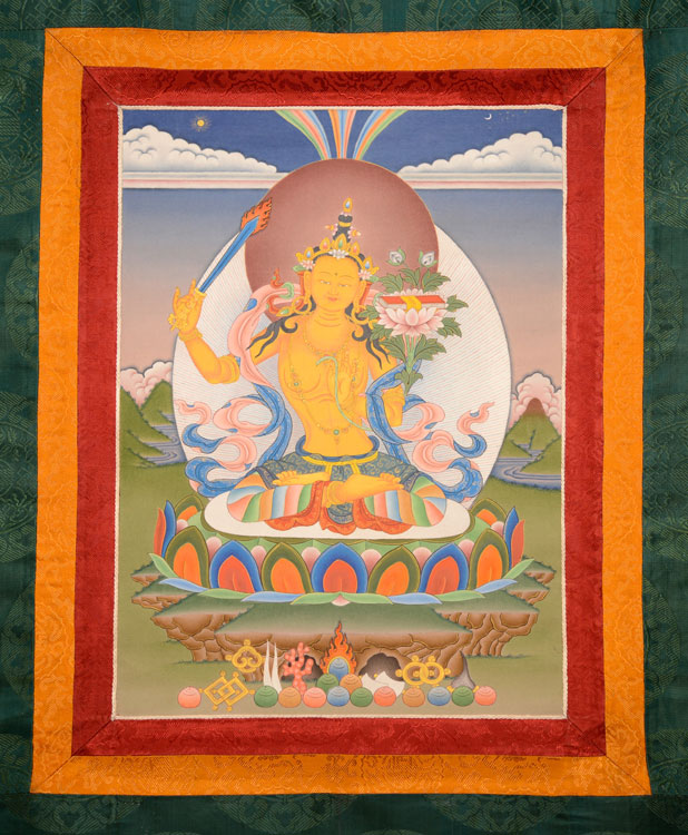 Manjushri Thangka with Brocade (KSL2580)