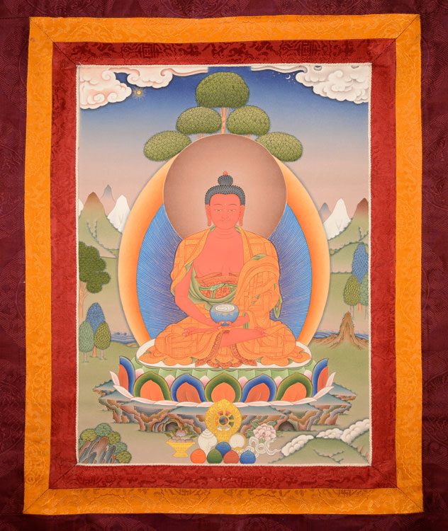 Amitabha Thangka with Brocade (KSL2581)