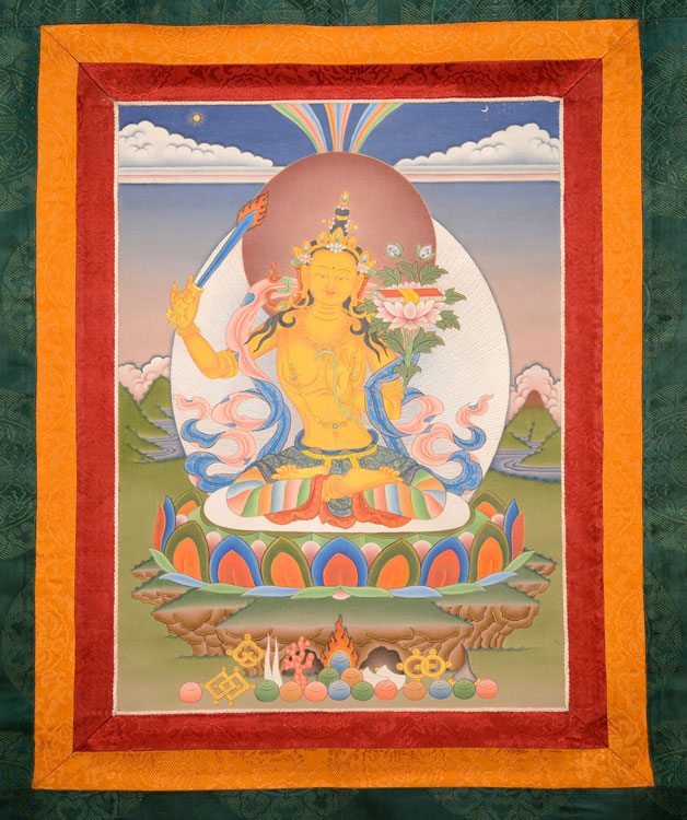 Manjushri Thangka with Brocade (KSL2590)