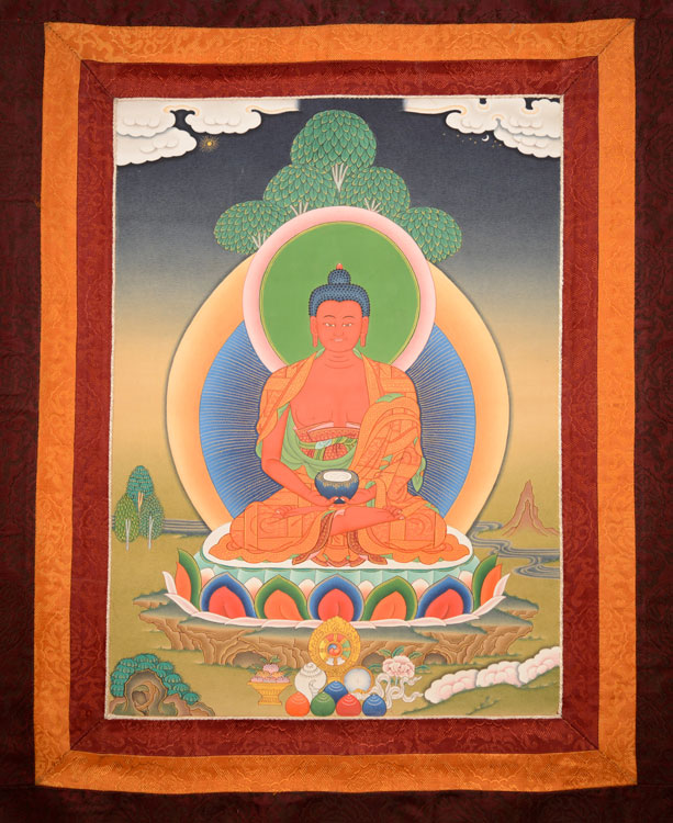 Amitabha Thangka with Brocade (KSL2598)