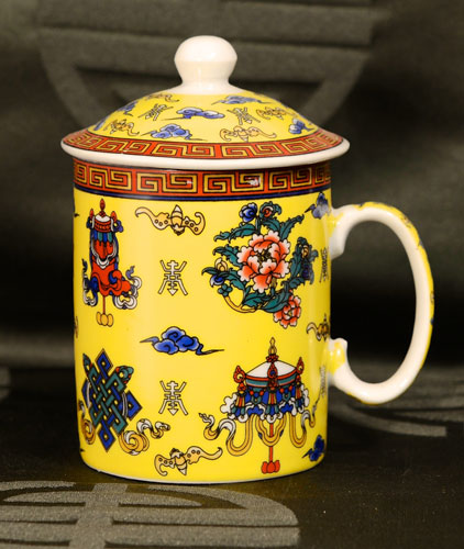 Small Tibetan Tea Cup - Auspicious Symbols (Yellow)